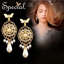 Special European and American S925 Silver Needle retro earrings female Butterfly Water infatuated with Ro