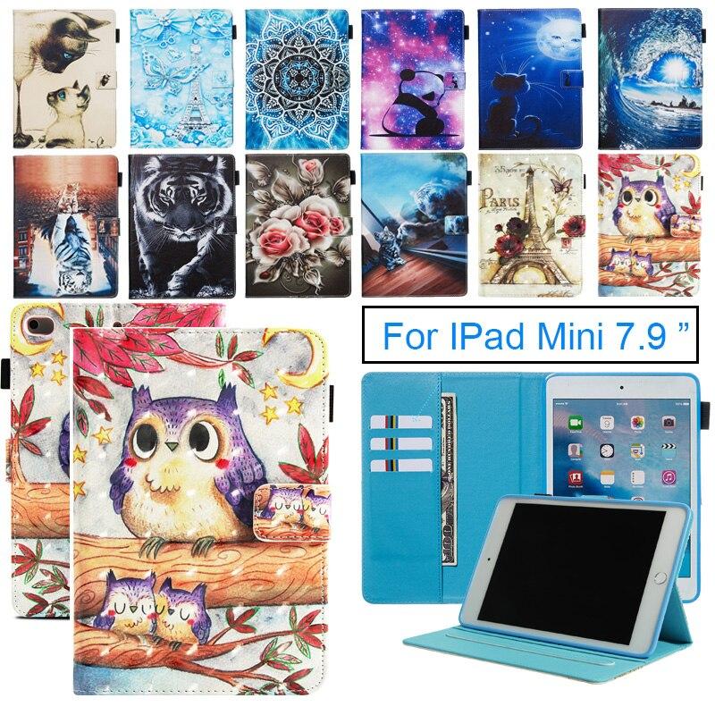 Dipinto Tablet Custodia Per Apple iPad Mini 1 2 3 4 5 Smart Cover Cute Cat Vibrazione Del Basamento di Cuoio DELL'UNITÀ di elaborazione pelle Funda Per Mini 5 7.9 ''2019