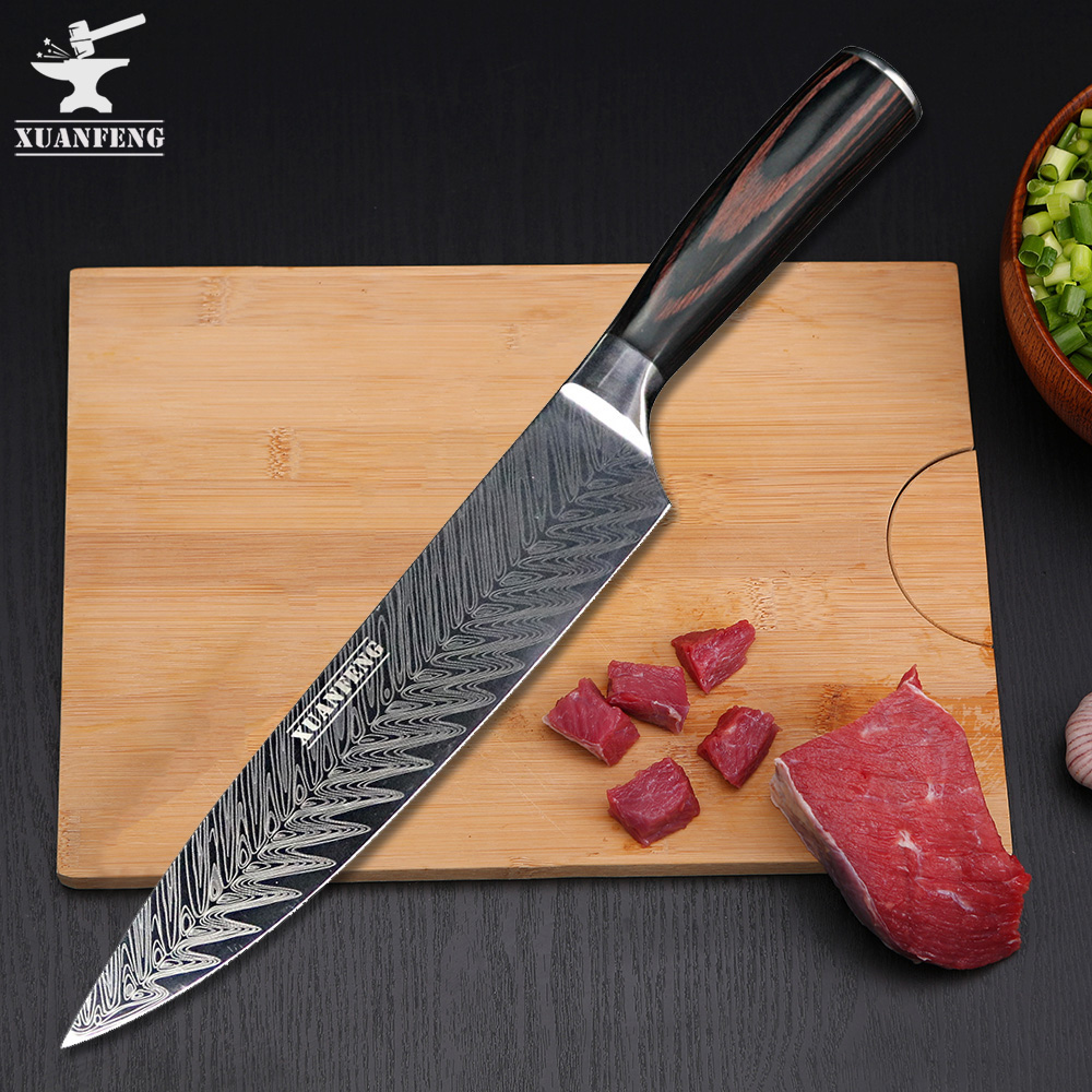 XUAN FENG High Quality Chef Knife 7CR17 High Carbon Stainless Steel Japan Series Damascus Laser Pattern Chef Kitchen Knife