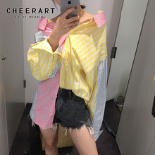 Cheerart Macaron Colourfull Blouse Women Long Sleeve Button Up Shirt Patchwork Striped Loose Top Fall 2019 Clothing autumn striped blouse women designer top button loose up shirt long sleeve korean fashion clothing 2019