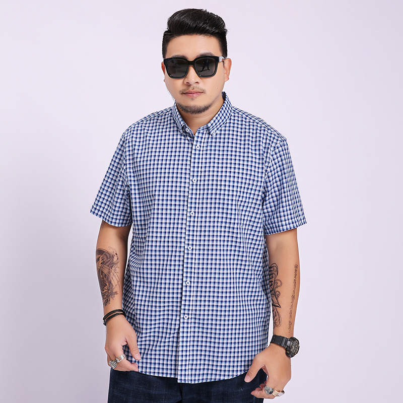 8xl 7xl 6xl Men Shirt Mens Business Casual Shirts 2020 New Arrival Men Famous Brand Clothing Plaid Short Sleeve Camisa Masculina