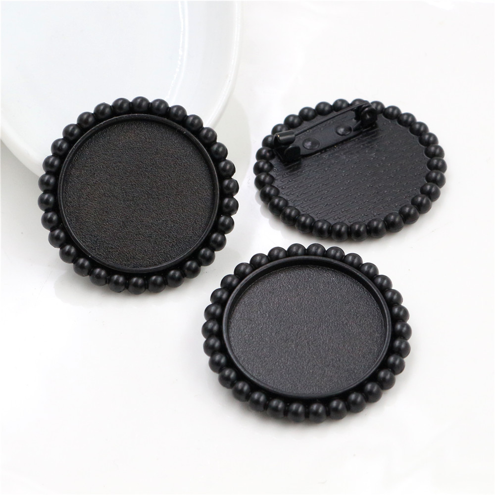 New Fashion  2pcs 25mm Inner Size Black Color Plated Brooch Style Fashion Cabochon Base Setting (A3-46)