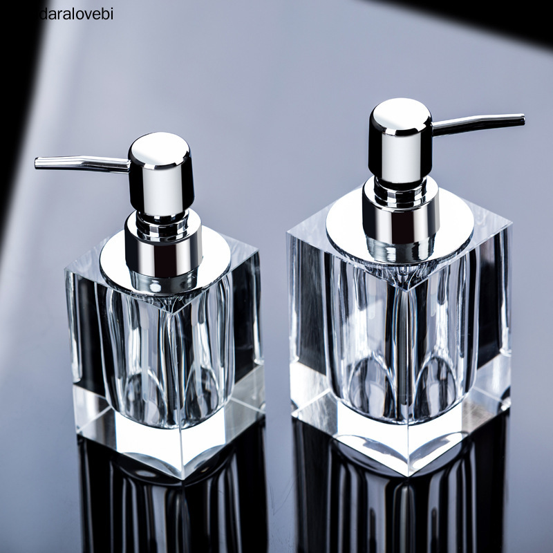 Transparent Crystal Glass Hand Sanitizer Soap Bottle Creative European Press Hotel Liquid Soap Dispenser Soap Lotion Bottle