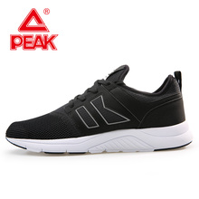 PEAK Walking Shoes For Men Breathable Lightweight Black Casual Comfortable Non-slip Sneakers Outdoor Textile Footwear