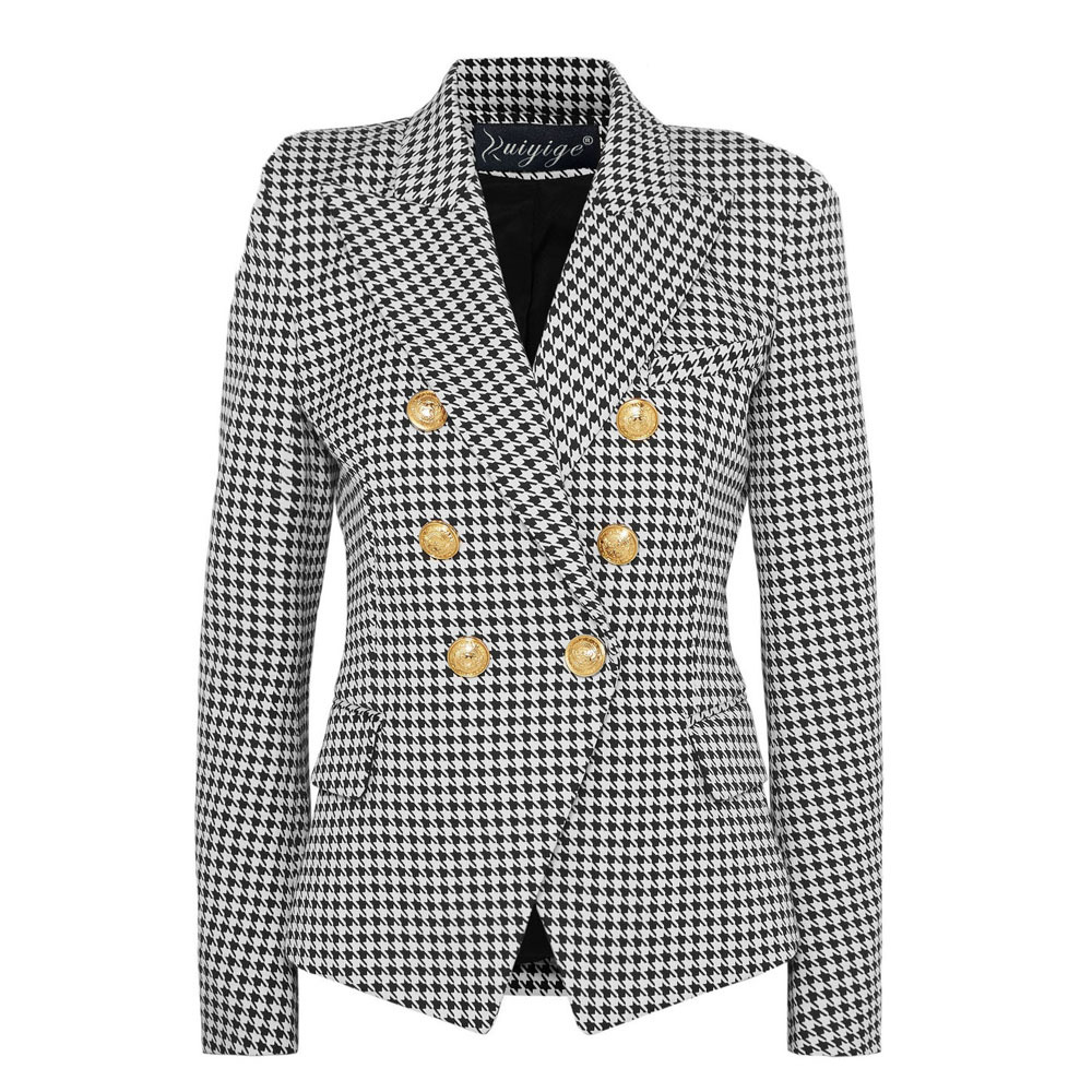 Fashion OL Slim Casual Long Sleeve Blazer Women Thin Blazers And Jackets Tops Suit Cardigan Open Stitch Outwear 2019 Plaid Coat