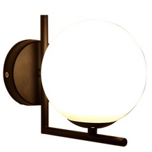 Modern Style Led Wall Lamp Nordic Glass Ball Wall Lamp Passage Corridor Bedroom Bedside Lamp Wall Lamp Black(China)