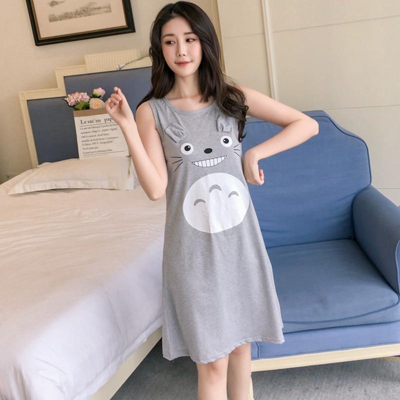 2020 Summer Sexy Vest Nightgown For Women Sleeveless Sleepwear Girls Cute Cartoon Totoro Night Gown Nightdress Home Dress Nighty