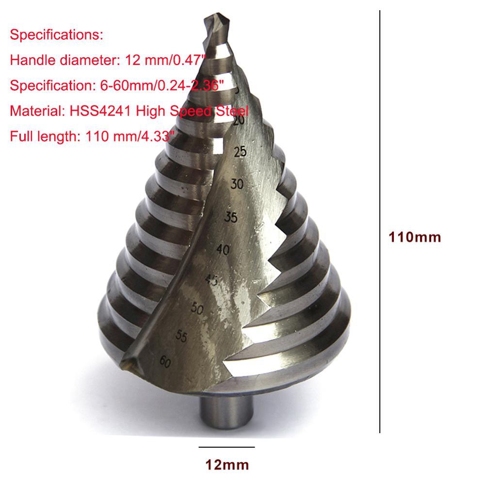 110mm Cone Hole HSS Titanium Coated Step Drill Bit Drilling Power Tools HSS 6-60mm Steel Metal Hole Cutter 3PCS Woodworking Tool