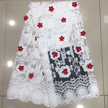 white and red African tulle lace fabric soft French net lace fabric with sequins and 3D flowers beads for party dress  FZZ462K