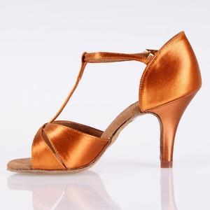 Image 3 - Hot Sale Women Latin BD Dance Shoe 2358 Satin Sandal Ladies Latin Dancing Shoes High Heel Soft Sole T bar Indoor
