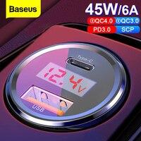 Baseus-cargador de teléfono móvil para coche, dispositivo de carga rápida 4,0 3,0, USB, 45w, para iPhone, Xiaomi, Samsung, QC4.0, QC3.0, QC, tipo C, PD