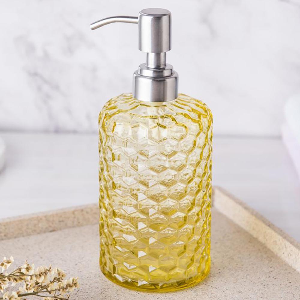 16 Oz Clear Glass Soap Dispenser - Refillable Wash Hand Liquid, Dish Detergent, Shampoo Lotion Bottle  JJJSN11404