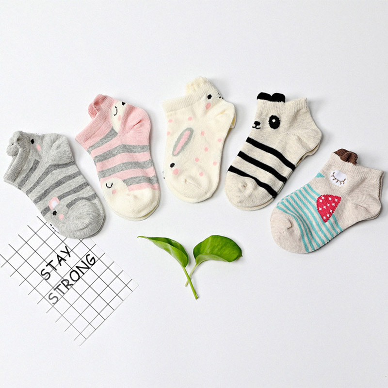 5 Pairs/pack Kids Socks Funny Cartoon Animal Ears Short Socks Summer Autumn Cotton Boys Girls Ankle Socks