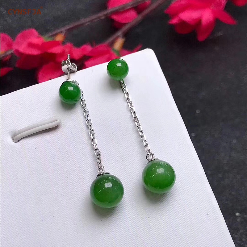 CYNSFJA Real Certified Natural Hetian Jade Jasper 925 Sterling Silver Fine Jewelry Women's Amulet Green Jade Earrings Best Gifts