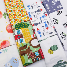 Clearance Promotion 2PCS Cotton Twill Patchwork Fabric Lovely Animal Printed DIY Sewing Quilting Material