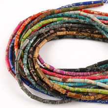 Natural multi-cor imperial pedra solta espaçador grânulos cilindro imperador pedras artesanal diy jóias pulseira colar 15 131313x4mm