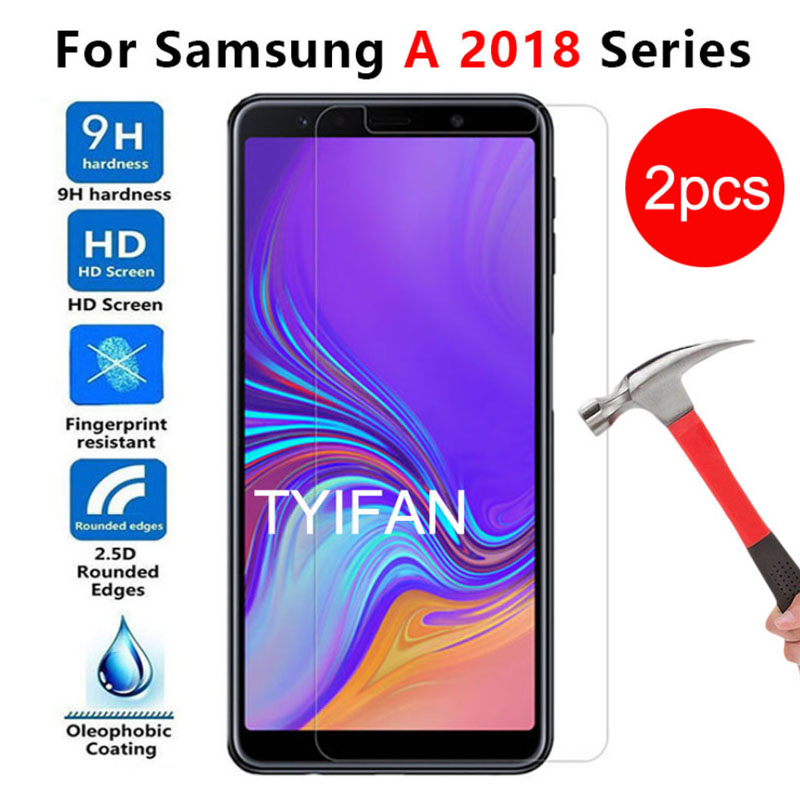 2pcs Tempered Glass for <font><b>Samsung</b></font> A6 A7 A8 Plus A9 <font><b>2018</b></font> Protective Glas Screen Protector on Galaxy A 6 7 8 9 6a 7a 8a 9a A72018 9h image