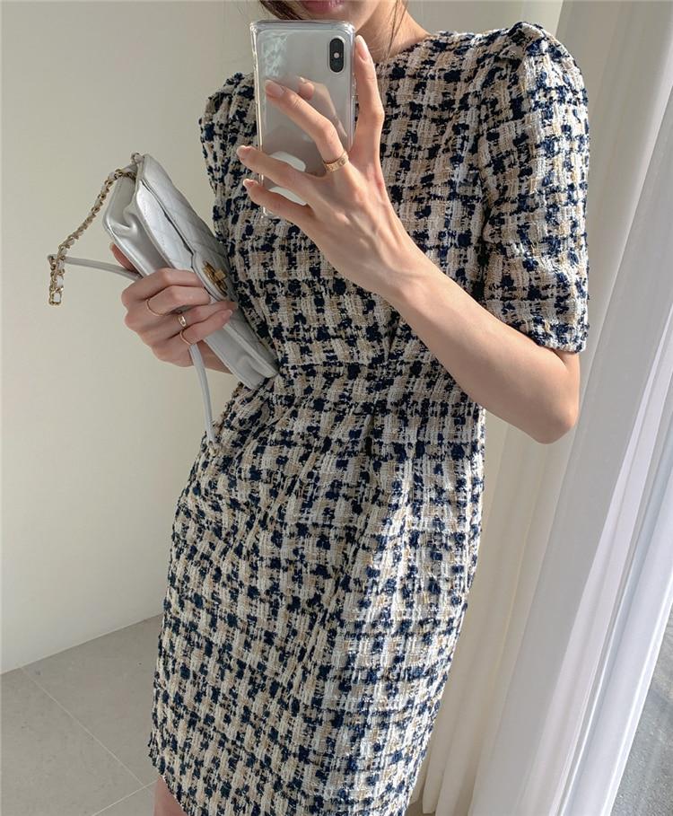 High Waist Casual Puff Sleeve Plaid Elegant Vintage Mini Dress 17