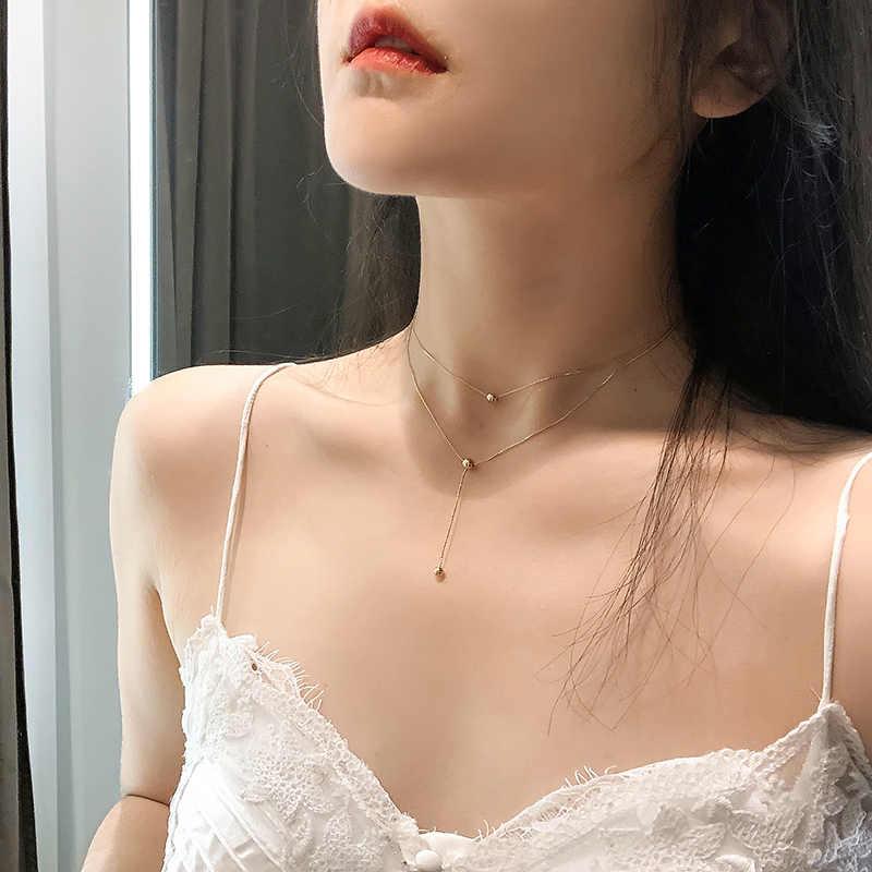 Kpop Fashion Warna Emas Kalung Wanita Gadis Cantik Double Layer Rantai Kalung UNTUK WANITA Perhiasan Grosir 2020