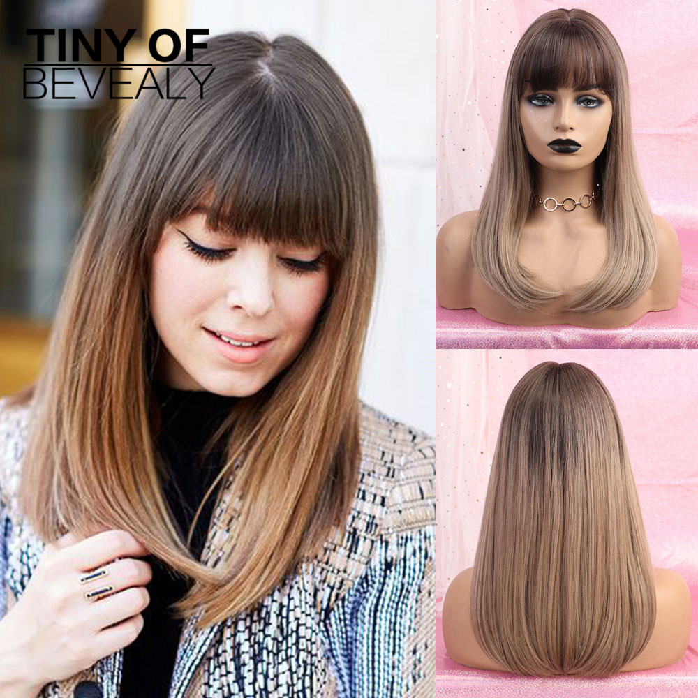 Long Ombre Brown Blonde Wigs With Bangs Natural Straight Synthetic Wigs Heat Resistant Fiber Black Red Cosplay Wigs For Women