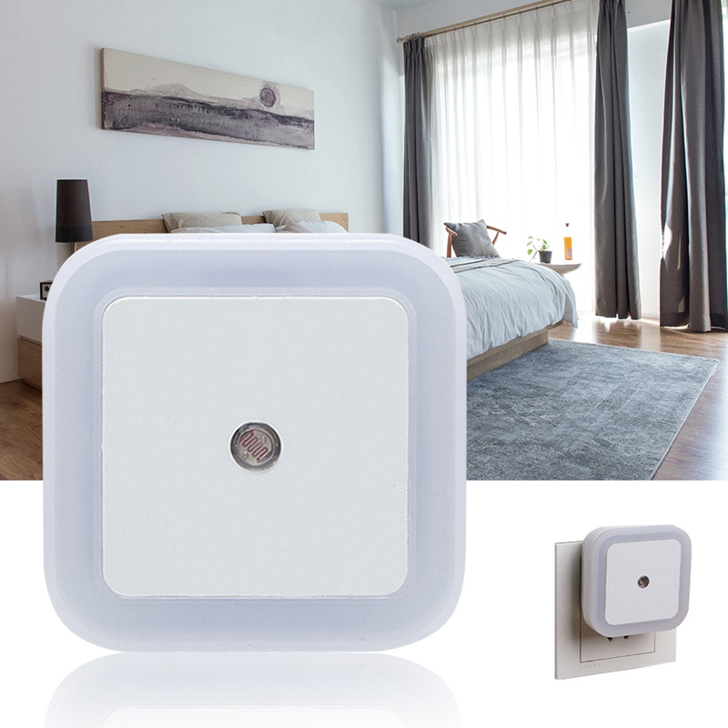 1PC EU/US Plug LED Night Light Light Sensor Control Night Light Bedroom Wall Lamp For Baby Kids Auto Turn On / Off