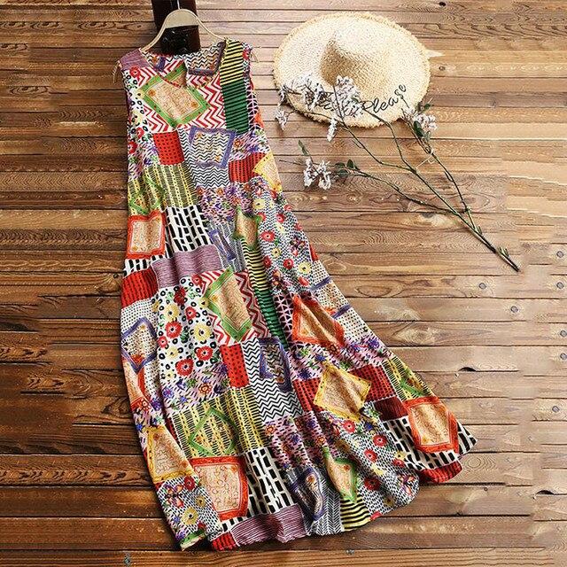 floral quilt patterned maxi dress Vintage O-Neck  2
