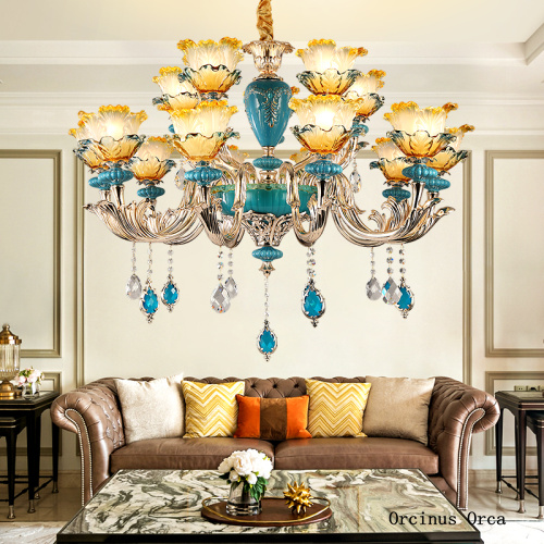 French Luxury Blue Ceramic Chandelier Living Room Dining Room Bedroom European Creative Romantic Colored Crystal LED Chandelier|Pendant Lights| |  - title=