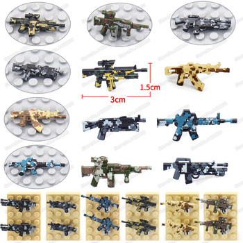 Assembly Military Camouflage Gun WW2 Weapons Figures Building Block Diy Army Special Forces Equipment Set Moc Model Boy Gift Toy