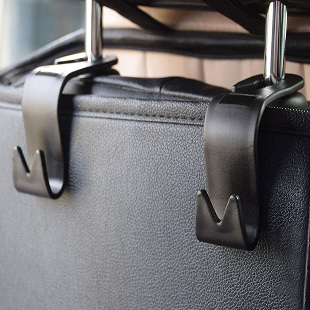 Balight 4pcs Adjustable Car Vehicle Back Seat Headrest Hooks Hangers For Grocery Bags Purse And Handbag