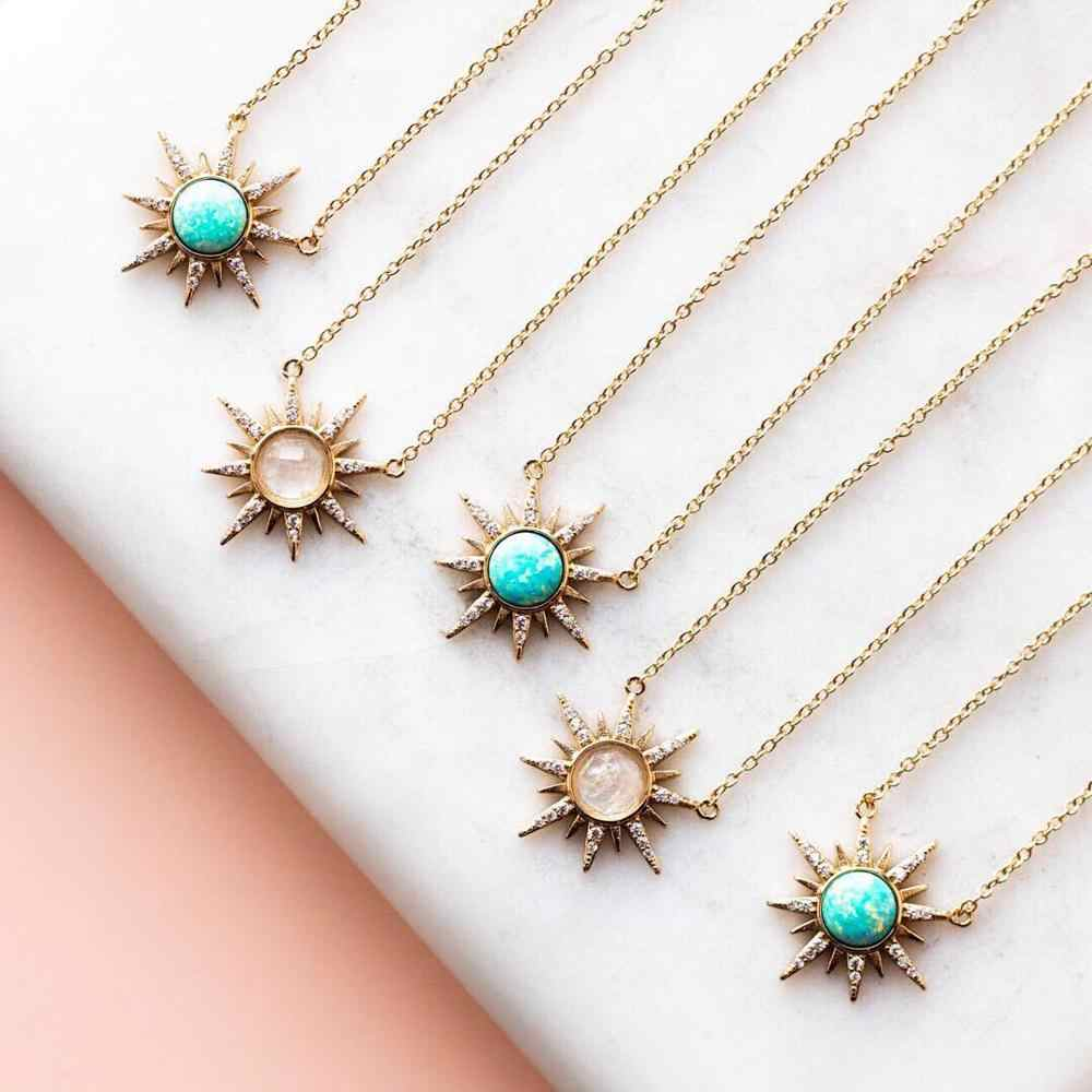 gold necklace long layered necklace gifts for women  pendant opal necklace opal chain  jewelry christmas gift