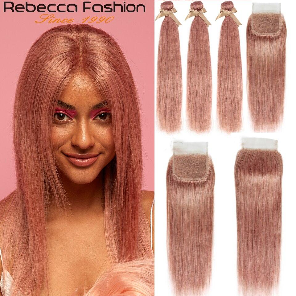 Rebecca S-mechones de pelo humano Remy liso brasileño, mechones con cierre, rosa, Rubio, 8 #