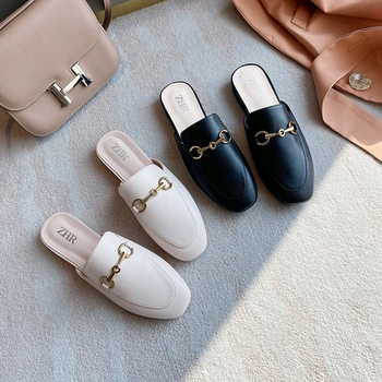 2020 Women Mules PU Leather Luxury Design Slippers Slip on Mules Shoes Female Flats Heel Casual Shoes Woman Flats Mules Loafers 2020 summer cool rhinestones slippers for male gold black loafers half slippers anti slip men casual shoes flats slippers wolf