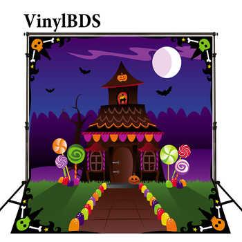 KATE Halloween Kulissen Märchenwelt Süßigkeiten Haus und Lutscher Cartoon Foto Hintergrund Fotografie Neugeborenen Haus Hintergrund