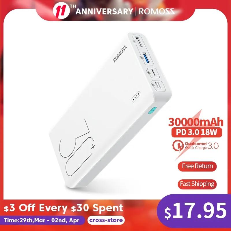 ROMOSS Sense 8+ Power Bank 30000mAh QC PD 3.0 Fast Charging Powerbank 30000 mAh External Battery Charger For iPhone Xiaomi Mi