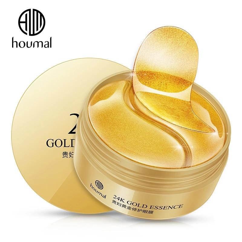 60pcs 24K Gold Collagen Eye Mask Anti Wrinkle Sleep Crystal Eye Patch Moisturizing Dark Circles Remover Eye Mask Eye Care
