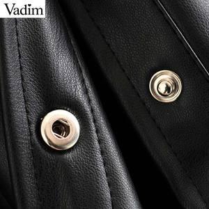 Image 4 - Vadim 女性エレガントな pu レザーブラウスロングランタンターンダウン襟シャツ女性の基本的なシックなトップス blusas LB738