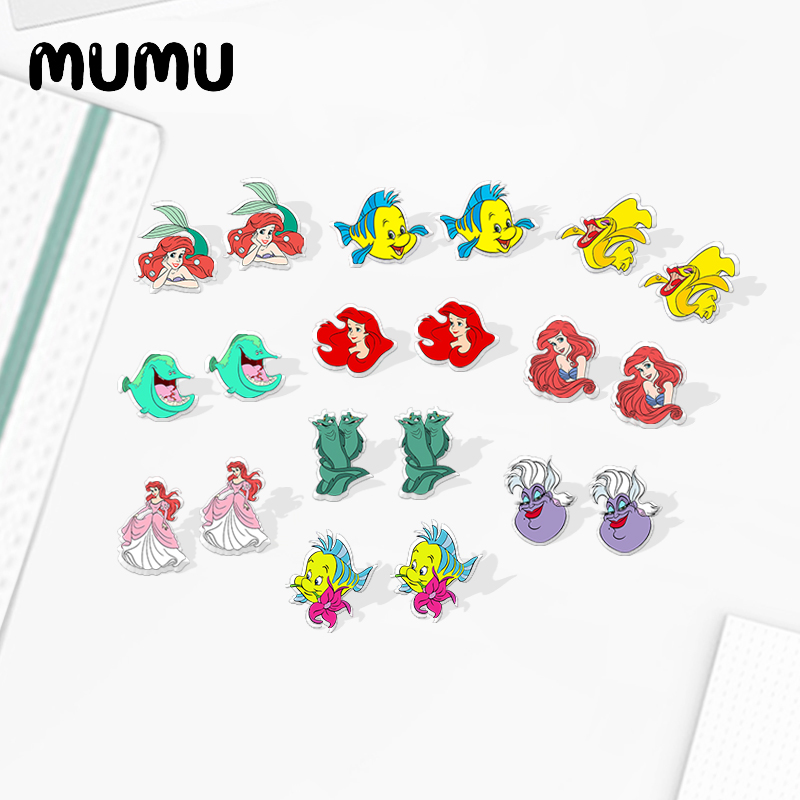 2020 New Ariel Stud Earring The Little Mermaid Acrylic Earring Silver-color Handmade Earrings Epoxy Jewelry For Girl