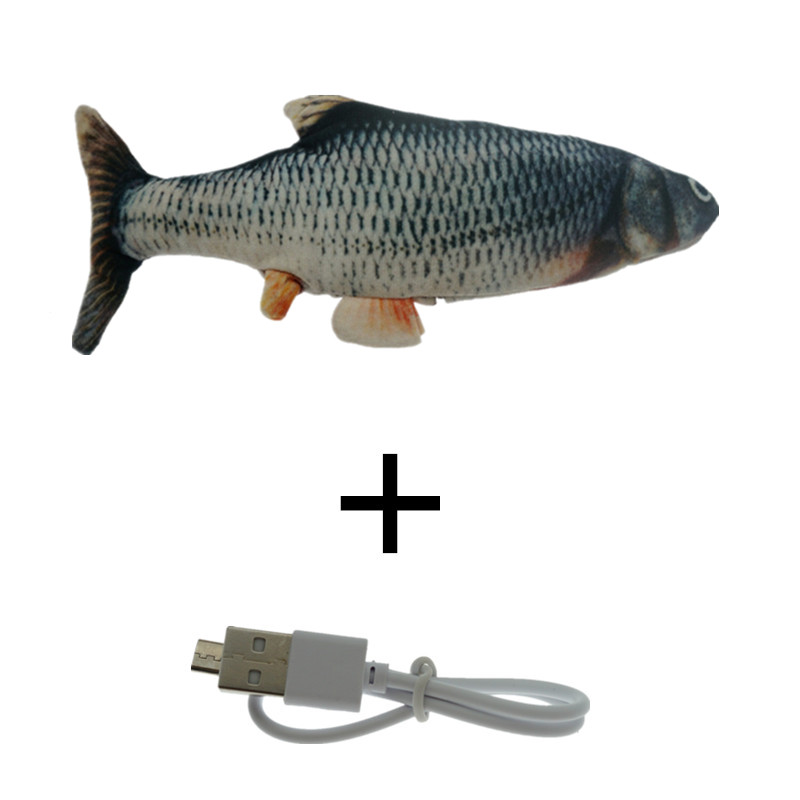 Black-30CM Cat Toy Fish USB Electric Charging Simulation Dancing Jumping Moving Floppy Fish