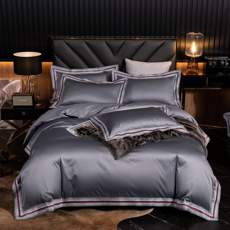 Luxury Soft 1000TC Egyptian Cotton Hotel Duvet Cover Set Flat Bed Sheet Pillowcases Blue Gray Red Queen King Size Bedding sets