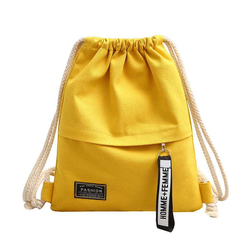 Canvas Bag Drawstring Solid Color Simple Wild Cloth Bag Bundle Pocket Handbags Casual Bag Back To School