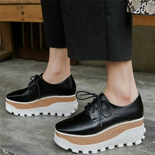 Platform Trainers Women Lace Up Genuine Leather Wedges High Heel Pumps Shoes Female Square Toe Fashion Sneakers Casual Shoes punk trainers women cow leather wedges high heel platform pumps shoes female lace up tennis shoes embroider flowers casual shoes