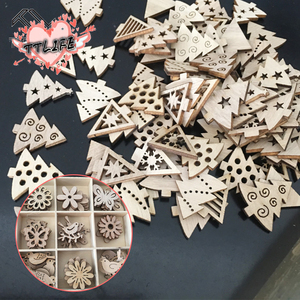 50Pcs Merry Christmas Wooden Baubles Tags Christmas Tree Decorations Art Craft Ornaments Christmas DIY New Year Decors Toys Set