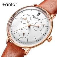 Fantor 高級トップブランドの女性は女性クォーツクロノグラフ Elegeant 女性本革腕時計女性ドレス腕時計