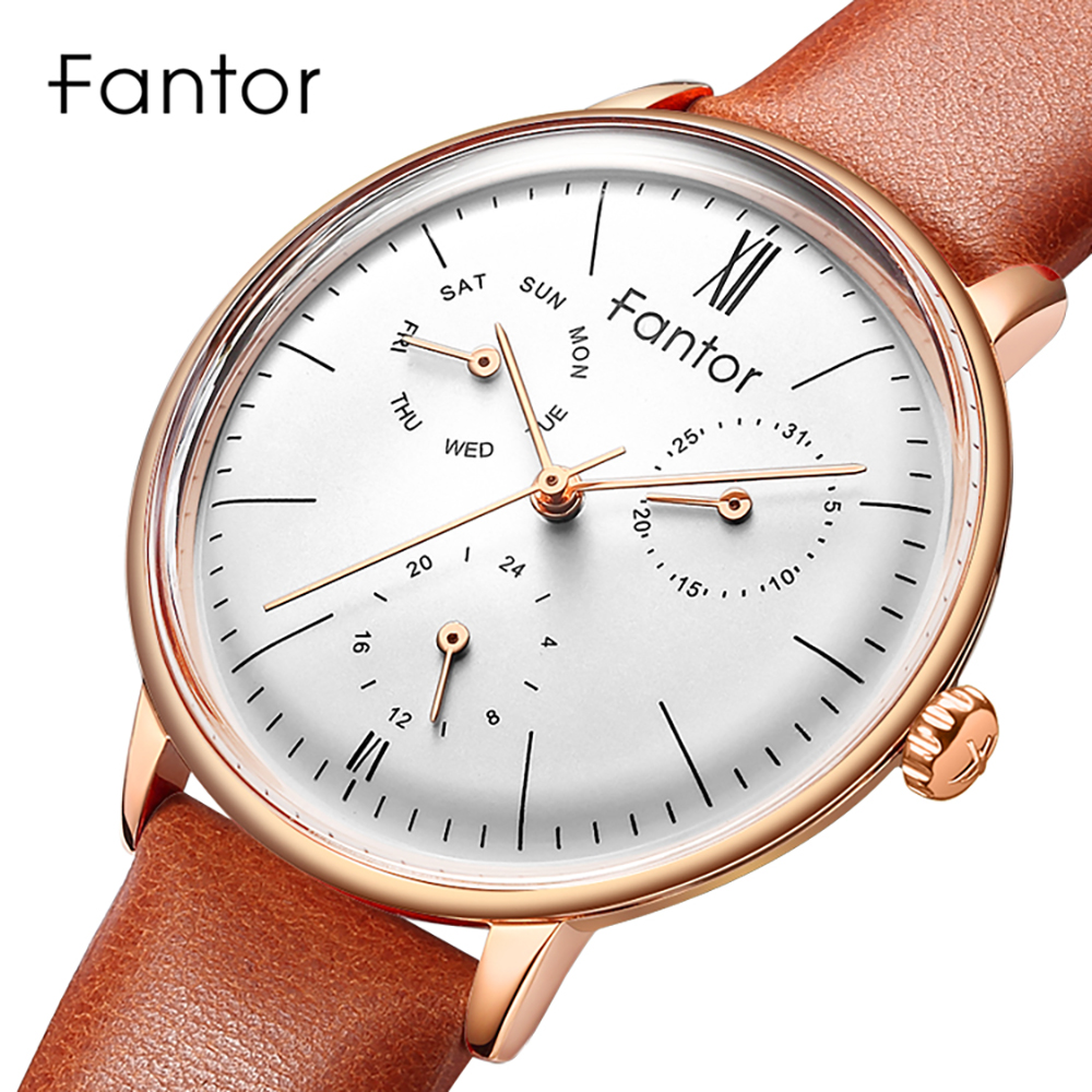 Fantor Luxury Top Brand Women Watch Ladies Quartz Chronograph Elegeant Woman Genuine Leather Watches Female Dress Wristwatch