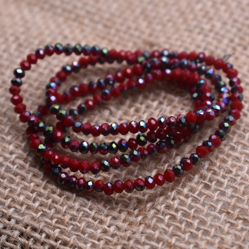 Сверкающие красные, фиолетовые, белые цвета 2*2 мм 195 шт Австрийские граненые стеклянные бусины Rondelle для изготовления ювелирных изделий - Цвет: 9 195pcs