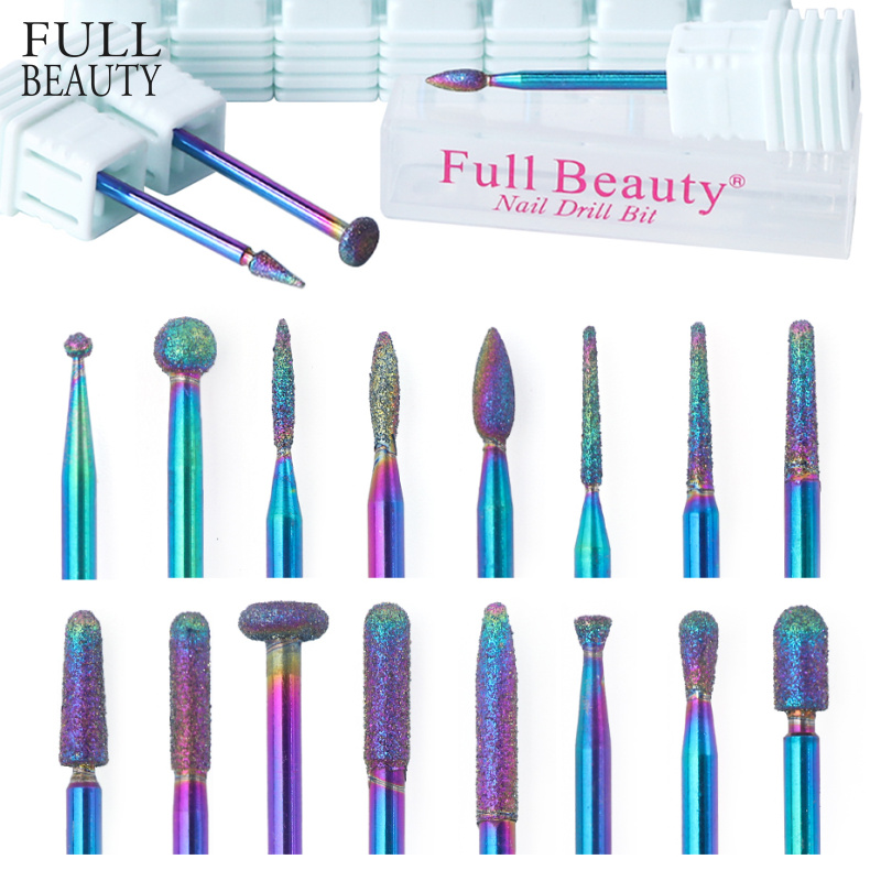 Diamond Burr Nail Drill Bits Rainbow Coating Carbide Cuticle Milling Cutter Electric Grinder For Manicure Pedicure CHCD01-27