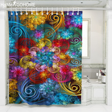 Waterproof Polyester Bathroom Shower Curtain 3D Colorful Whirlwind Cloud Art Decoration Mandala Shower Curtain Bathroom Bathing