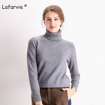 Lafarvie Knitted Turtleneck Sweater Women Tops Autumn Winter Full Sleeve Thick Pullover Female Loose Jumper Pull 5 Colors S-XXL lafarvie knitted turtleneck cashmere sweater women tops full sleeve pullover female loose thick csual jumper high quality s xxl