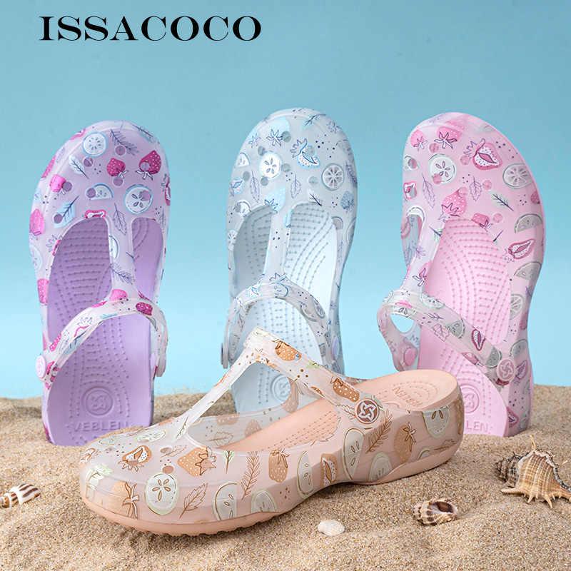 Сандалии-желе ISSACOCO женские с дырками, повседневная обувь для сада, летние пляжные босоножки на плоской подошве