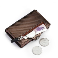 2020 New Top Quality Carbon Fiber Credit Card Holder New Male Coin Purse ID Holder with Zipper RFID Men Business Button Wallet